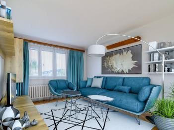 Vizualizace obývacího pokoje  - Prodej bytu 3+1 v osobním vlastnictví 71 m², Praha 5 - Radlice