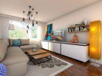 vizualizace obývacího pokoje - Prodej bytu 3+kk v osobním vlastnictví 62 m², Praha 4 - Háje