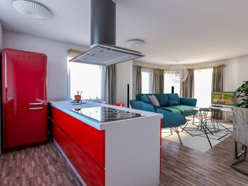 Vizualizace obývacího pokoje s kuch. koutem - Prodej domu v osobním vlastnictví 205 m², Horoměřice