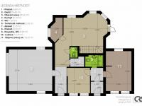 Plán přízemí - Prodej domu v osobním vlastnictví 205 m², Horoměřice
