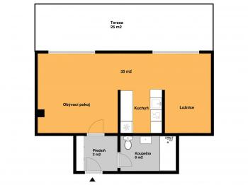 Půdorys bytu - Pronájem bytu Atypický v osobním vlastnictví 45 m², Praha 1 - Nové Město