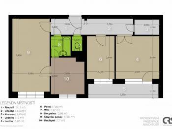 Půdorys stávajícího stavu  - Prodej bytu 3+1 v osobním vlastnictví 65 m², Praha 10 - Strašnice