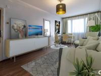 Vizualizace obývacího pokoje - Prodej bytu 3+1 v osobním vlastnictví 65 m², Praha 10 - Strašnice