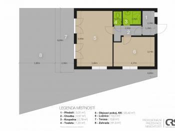 Půdorys - Prodej bytu 2+kk v osobním vlastnictví 51 m², Mníšek pod Brdy