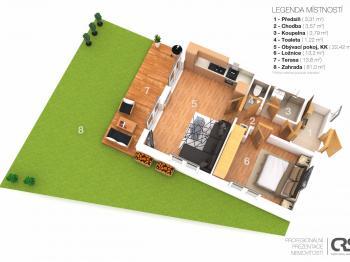 3D plánek bytu a zahrady - Prodej bytu 2+kk v osobním vlastnictví 51 m², Mníšek pod Brdy