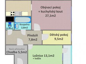 Prodej bytu 3+kk v osobním vlastnictví, 67 m2, Praha 4 - Kamýk