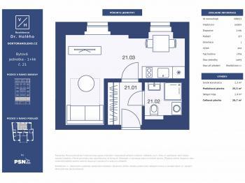 Prodej bytu 1+kk v osobním vlastnictví, 26 m2, Praha 8 - Libeň