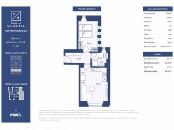 Prodej bytu 2+kk v osobním vlastnictví, 45 m2, Praha 8 - Libeň