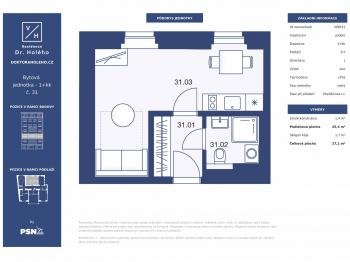 Prodej bytu 1+kk v osobním vlastnictví, 27 m2, Praha 8 - Libeň