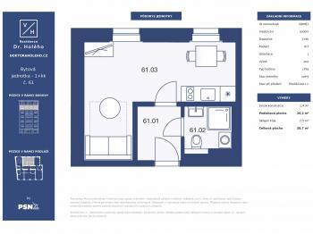 Prodej bytu 1+kk v osobním vlastnictví, 29 m2, Praha 8 - Libeň