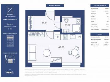 Prodej bytu 1+kk v osobním vlastnictví, 33 m2, Praha 8 - Libeň