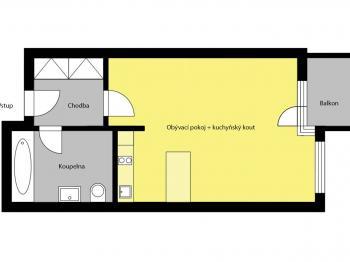 Pronájem bytu 1+kk v osobním vlastnictví, 35 m2, Praha 5 - Stodůlky