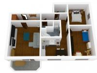 3D vizualizace (Prodej bytu 3+1 v osobním vlastnictví 78 m², Vyškov)