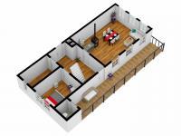 3D model první podlaží (Prodej chaty / chalupy 70 m², Stárkov)