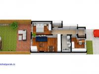 půdorys se zahradou - Prodej bytu 3+kk v osobním vlastnictví 114 m², Častolovice
