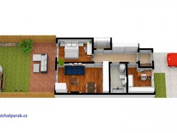 půdorys se zahradou - Prodej bytu 3+kk v osobním vlastnictví 51 m², Častolovice