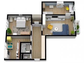 půdorys bytu 3+1 - Prodej bytu 3+1 v osobním vlastnictví 69 m², Hradec Králové