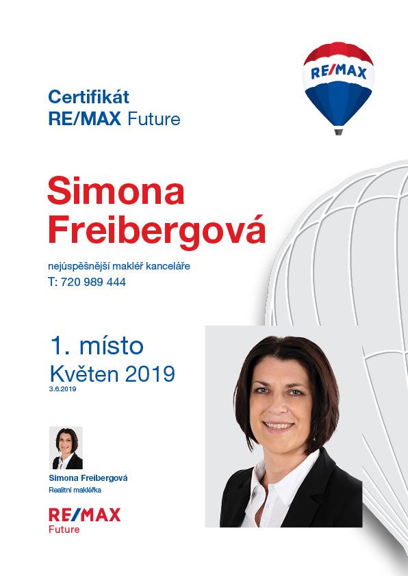 Simona Freibergová - nejlepší makléřka kanceláře za Květen 2019