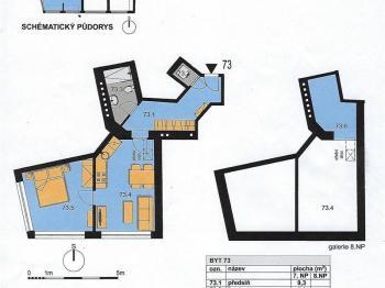 Plánek bytu 2+kk č. 73 - Prodej bytu 2+kk v osobním vlastnictví 55 m², Praha 10 - Michle