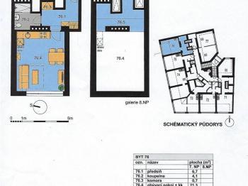 Plánek bytu 1+kk č. 76 - Prodej bytu 1+kk v osobním vlastnictví 52 m², Praha 10 - Michle