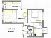 možná přestavba na 3 neprůchozí pokoje (Pronájem bytu 3+1 v družstevním vlastnictví 67 m², Praha 4 - Podolí)