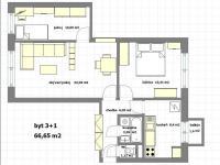 současný půdorys (Pronájem bytu 3+1 v družstevním vlastnictví 67 m², Praha 4 - Podolí)