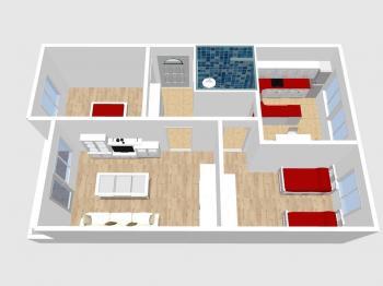 3D půdorys  - Prodej bytu 3+1 v osobním vlastnictví 72 m², Praha 4 - Hodkovičky