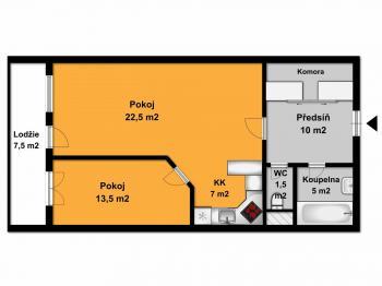 Orientační půdorys. - Prodej bytu 2+kk v osobním vlastnictví 70 m², Praha 6 - Břevnov