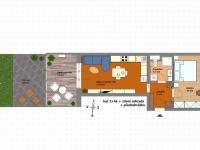 půdorys bytu s předzahrádkou - Prodej bytu 2+kk v osobním vlastnictví 61 m², Praha 5 - Zbraslav