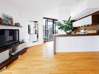 Obývací pokoj s kuchyňským koutem - Pronájem bytu 3+kk v osobním vlastnictví 96 m², Praha 3 - Žižkov