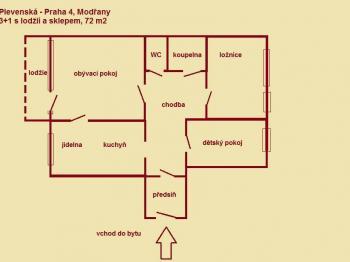 Pronájem bytu 3+1 v družstevním vlastnictví 72 m², Praha 4 - Modřany
