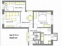 přestavba na 3 neprůchozí pokoje - Pronájem bytu 3+1 v družstevním vlastnictví 67 m², Praha 4 - Podolí