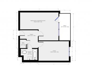 Orientační půdorys - Prodej bytu 2+kk v osobním vlastnictví 46 m², Praha 10 - Uhříněves