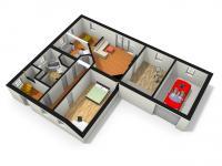 3D vizualizace přízemí (Prodej domu v osobním vlastnictví 218 m², Doksy)