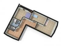 3D vizualizace podkroví (Prodej domu v osobním vlastnictví 218 m², Doksy)