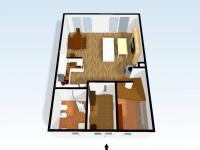Přízemí pohled 3D (Prodej domu v osobním vlastnictví 110 m², Veltrusy)