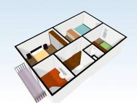 Pohled 3D poschodí domu (Prodej domu v osobním vlastnictví 110 m², Veltrusy)
