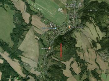 satelitní mapa - Prodej pozemku 7630 m², Skalice u České Lípy