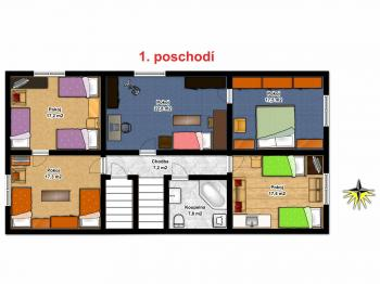 Půdorys 1. poschodí - Prodej domu v osobním vlastnictví 240 m², Nový Oldřichov