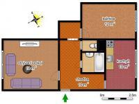 schéma bytu (Prodej bytu 2+1 v osobním vlastnictví 56 m², Česká Lípa)