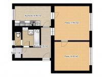 Půdorys bytu (Prodej bytu 2+1 v osobním vlastnictví 65 m², Česká Lípa)