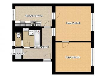 Půdorys bytu - Prodej bytu 2+1 v osobním vlastnictví 65 m², Česká Lípa