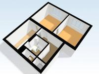Půdorys bytu - pohled 3D (Prodej bytu 2+1 v osobním vlastnictví 65 m², Česká Lípa)