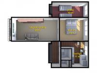 schéma bytu - Prodej bytu 3+1 v osobním vlastnictví 62 m², Varnsdorf