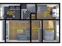 schéma bytu - Prodej bytu 3+1 v družstevním vlastnictví 67 m², Česká Lípa