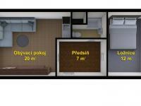 schéma bytu - Prodej bytu 2+kk v osobním vlastnictví 41 m², Česká Lípa