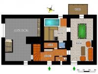 schéma přízemí - Prodej chaty / chalupy 290 m², Slunečná