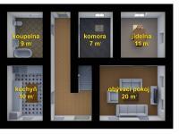 Půdorys přízemí - Prodej chaty / chalupy 200 m², Zahrádky