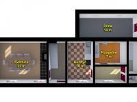 dispozice přízemí - Prodej chaty / chalupy 110 m², Nový Bor