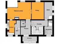 půdorys přízemí (Prodej domu v osobním vlastnictví 294 m², Březová-Oleško)